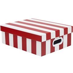 Caixa Stok Listrada Vermelha 13x29cm  - Boxgraphia
