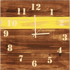 Relógio em Madeira 40x40cm Marrom - Império Decore