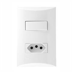 1 Interruptor Simples E 1 Tomada 4x2 Brava Branco - Iriel