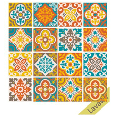 Adesivo para Azulejo Hidráulico Café 15x15cm com 16 Peças Multicolorido - Dona Cereja