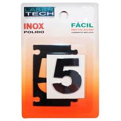 Algarismo Adesivo Número 5 em Inox Polido 4cm - Display Show