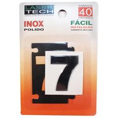 Algarismo Adesivo Número 7 em Inox Polido 4cm - Display Show