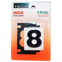 Algarismo Adesivo Número 8 em Inox Polido 4 Cm - Display Show
