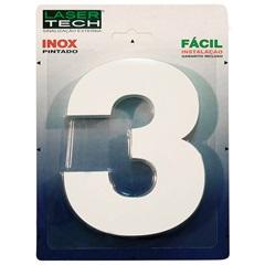 Algarismo em Inox Número 3 Branco 15cm - Display Show
