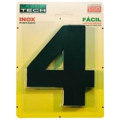 Algarismo em Inox Número 4 Preto 15cm - Display Show