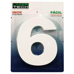 Algarismo em Inox Número 6 Branco 15 Cm - Display Show