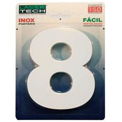 Algarismo em Inox Número 8 Branco 15cm - Display Show