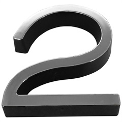 Algarismo em Plástico Número 2 Metalizado E Preto 8cm - Fixtil