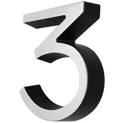 Algarismo em Plástico Número 3 Metalizado E Preto 4cm - Fixtil