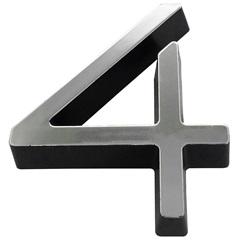 Algarismo em Plástico Número 4 Metalizado E Preto 8cm - Fixtil