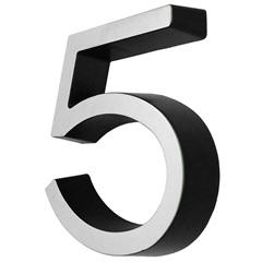 Algarismo em Plástico Número 5 Metalizado E Preto 4cm - Fixtil