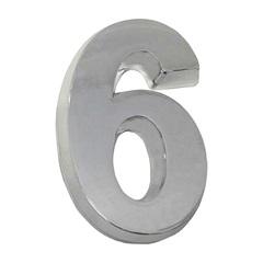 Algarismo em Plástico Número 6 Cromado - Fixtil