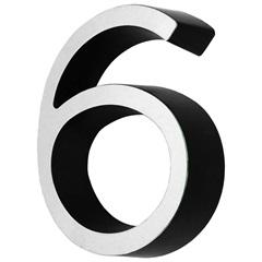 Algarismo em Plástico Número 6 Metalizado E Preto 4cm - Fixtil