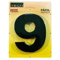 Algarismo Número 9 Inox Preto 15cm - Display Show