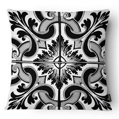 Almofada Decorativa Realce 078 40x40cm Branca E Preta - Belchior