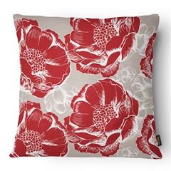 Almofada Decorativa Realce 079 40x40cm Branca E Vermelha - Belchior