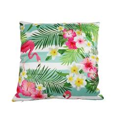 Almofada em Poliéster Flamingo E Flores Ii 45x45cm Verde - Casanova