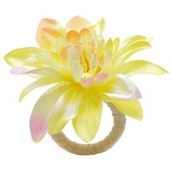 Anéis para Guardanapo em Plástico Gardênia Amarela com 4 Peças - Bon Gourmet