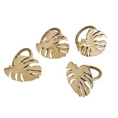 Anéis para Guardanapo em Zamac Costela de Adão Dourado com 4 Peças - Bon Gourmet