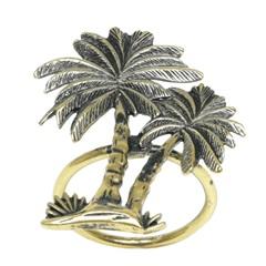Anéis para Guardanapo em Zamac Palm Tree Bronze Envelhecido com 4 Peças - Bon Gourmet
