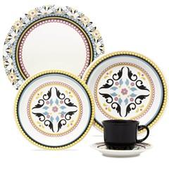Aparelho de Chá E Jantar Daily Floreal Luiza com 20 Peças Amarelo E Branco - Oxford