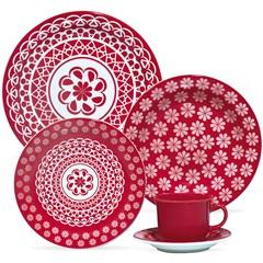 Aparelho de Chá E Jantar Daily Floreal Renda com 20 Peças Vermelho E Branco - Oxford