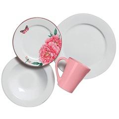 Aparelho de Jantar Concept em Cerâmica com 16 Peças Branco E Rosa - Scalla