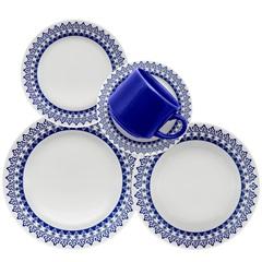Aparelho de Jantar Donna Grécia com 20 Peças Azul E Branco - Biona
