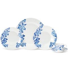 Aparelho de Jantar Floral Azul com 20 Peças - Evolux
