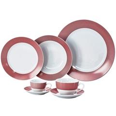 Aparelho de Jantar Super White Linhas Vermelha 42 Peças - Wolff