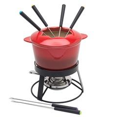 Aparelho para Fondue em Cerâmica com Base em Metal Gradual Red com 10 Peças - Bon Gourmet