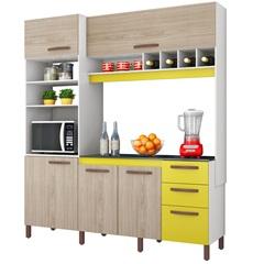 Armário para Cozinha em Mdp com Adega Horizontal Cacau 207x184cm Amarelo E Teka Albatroz - Kit