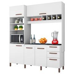 Armário para Cozinha em Mdp com Adega Horizontal Cacau 207x184cm Branco Albatroz - Albatroz