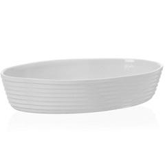 Assadeira Oval em Cerâmica Gourmet 36x25cm Branca - Casa Etna
