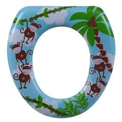 Assento Sanitário Oval Almofadado Infantil Macaco - Astra