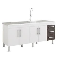 Balcao Cozinha Flex 1,74 Metros Branco E Café - MGM Móveis
