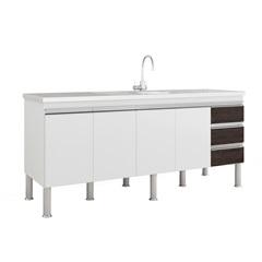 Balcao Cozinha Ibiza Puxador Perfil 1,74 Metros Branco E Café - MGM Móveis