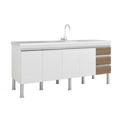 Balcao Cozinha Ibiza Puxador Perfil 1,74 Metros Branco E Carvalho - MGM Móveis