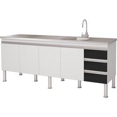 Balcao Cozinha Ibiza Puxador Perfil 1,94 Metros Branco E Preto - MGM Móveis