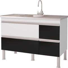 Balcao Cozinha Prisma Puxador Perfil 1,14 Metros Branco E Preto - MGM Móveis
