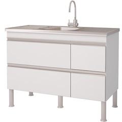Balcao Cozinha Prisma Puxador Perfil 1,14 Metros Branco - MGM Móveis