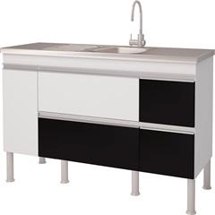 Balcao Cozinha Prisma Puxador Perfil 1,44 Metros Branco E Preto - MGM Móveis