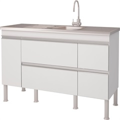 Balcao Cozinha Prisma Puxador Perfil 1,44 Metros Branco - MGM Móveis