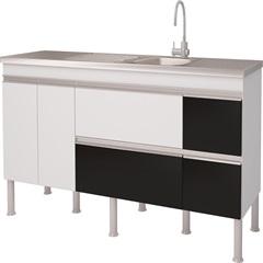 Balcao Cozinha Prisma Puxador Perfil 1,74 Metros Branco E Preto - MGM Móveis