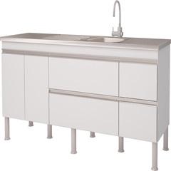 Balcao Cozinha Prisma Puxador Perfil 1,74 Metros Branco - MGM Móveis
