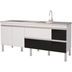 Balcao Cozinha Prisma Puxador Perfil 1,94 Metros Branco E Preto - MGM Móveis