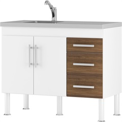 Balcão para Cozinha Flex 12 80x114cm Branco E Castanho - MGM Móveis