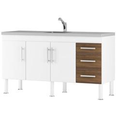 Balcão para Cozinha Flex 15 80x150cm Branco E Castanho - MGM Móveis
