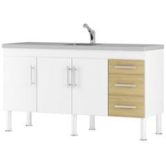 Balcão para Cozinha Flex 15 80x150cm Branco E Nogueira - MGM Móveis