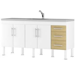 Balcão para Cozinha Flex 18 80x180cm Branco E Nogueira - MGM Móveis